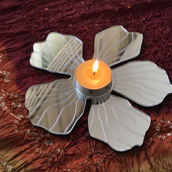 Mirror Five Petal Flower-Tea Light Holder