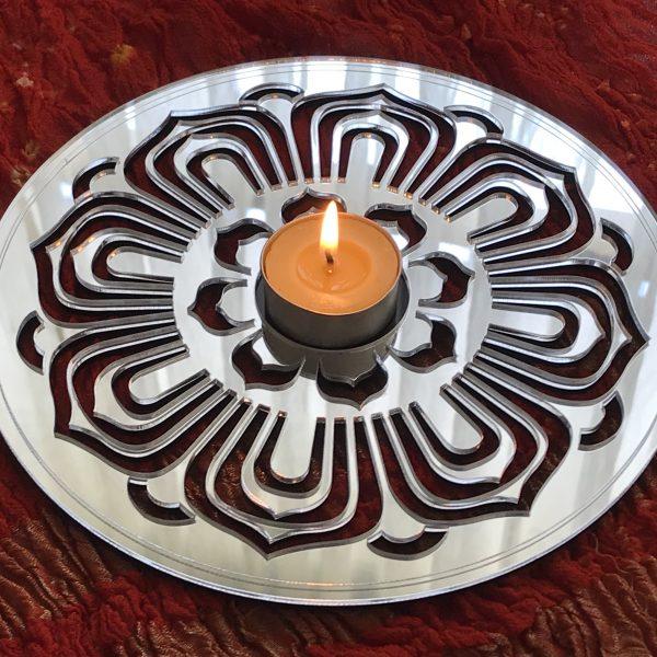 Mirror Lotus Circle - Tea Light Holder