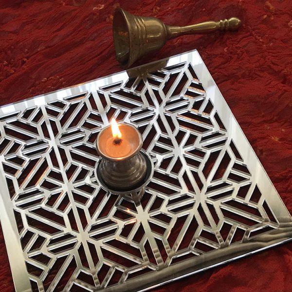 Mirror Sq Geometric Jali-Tea Light Holder